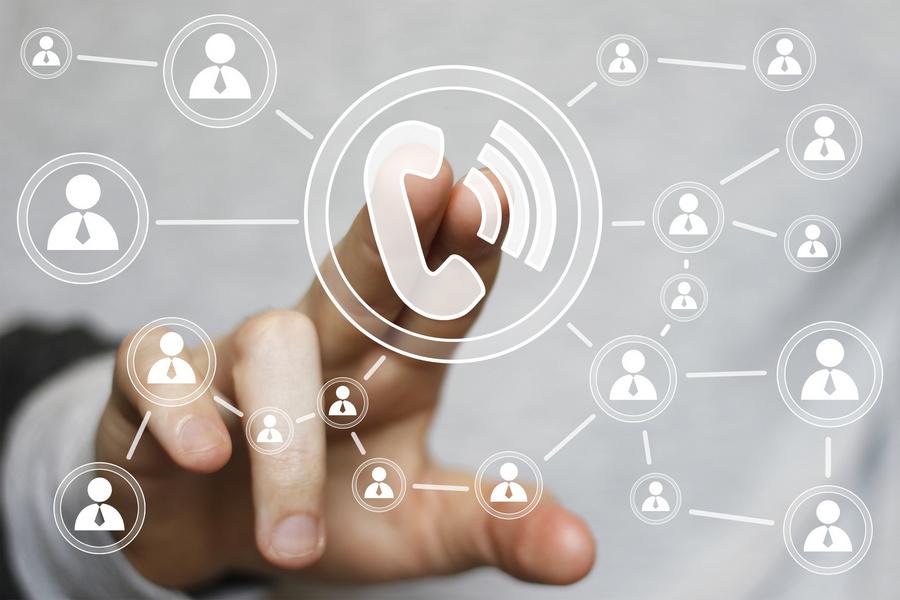Businessman hand press telephone web icon button sign