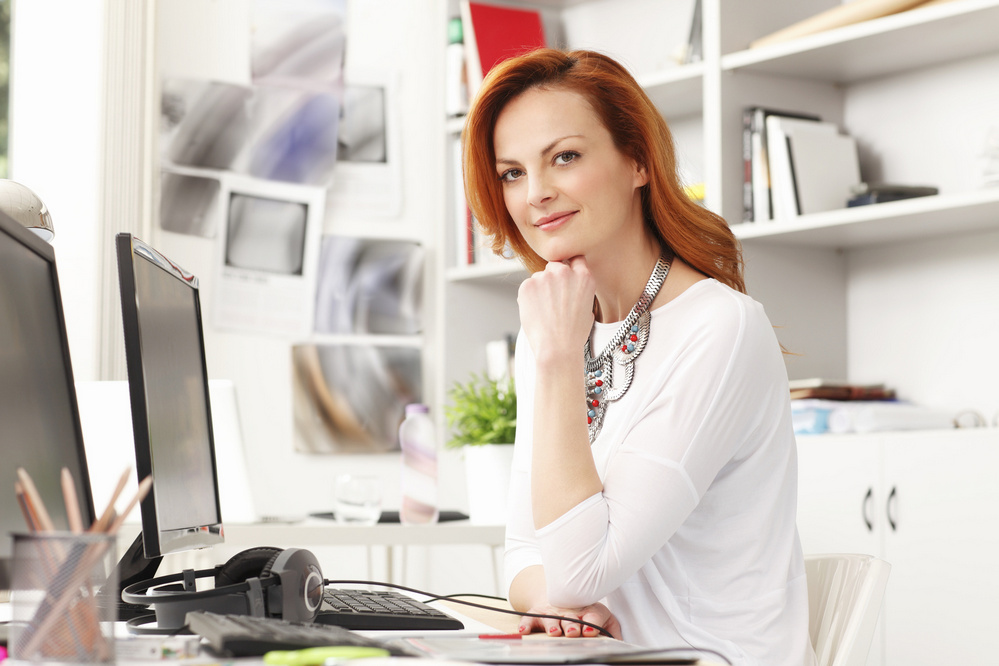 Portrait of beautiful modern businesswoman a